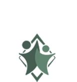 Delaware Star Dental logo in white with two stylized people with a diamond behind them in green