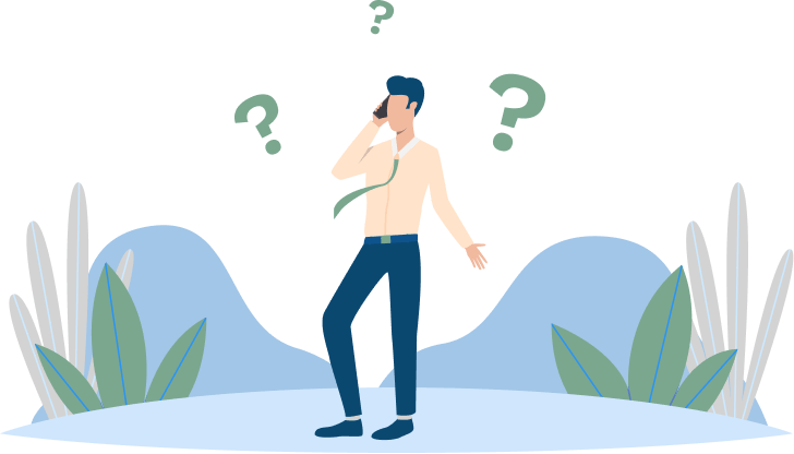Illustration of a man on a cell phone, looking confused, with three question marks floating around his head
