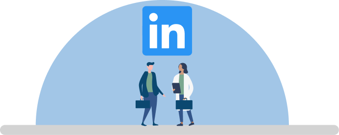 LinkedIn logo and illustration of a person with a briefcase walking up to a woman wearing a white lab coat holding a clipboard and briefcase