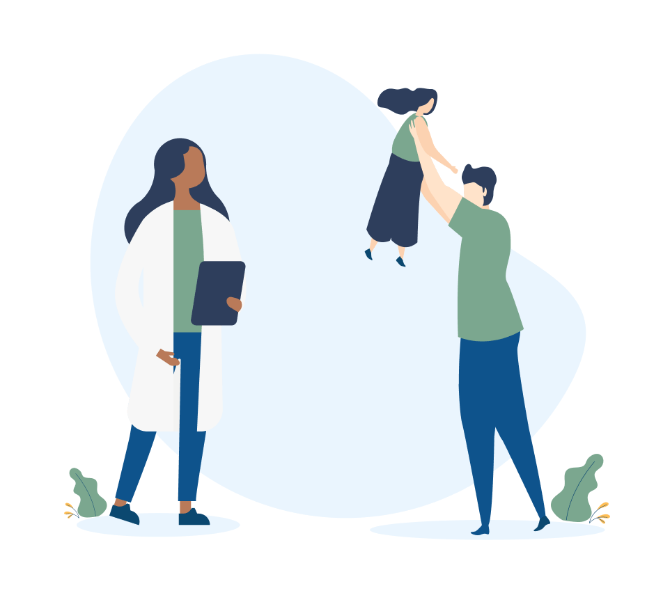Illustration of a woman wearing a lab coat and holding a clipboard looking at a parent holding up their child