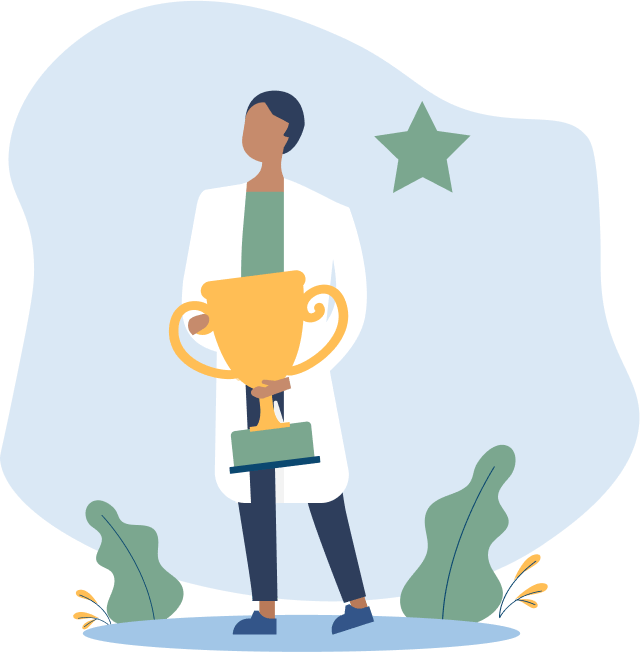 Illustration of a person in a lab coat holding a large trophy, recognition