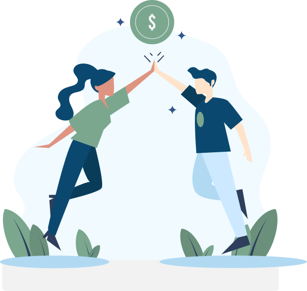 Illustration of a man and woman doing a high-five with a dollar sign above them