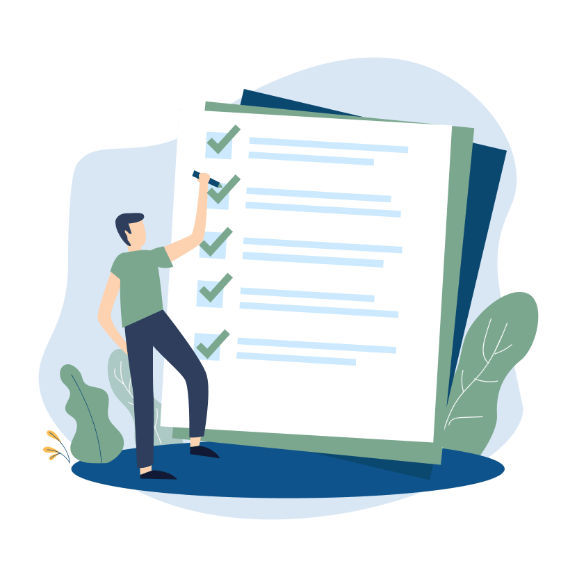 Illustration of a man standing in front of a large sheet of paper checking off boxes